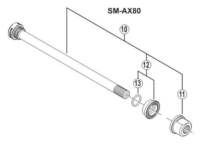Shimano Saint FH-M810/815 Rear Hub Axle