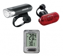 Cateye - Front & rear Lamp Set and Bike Computer: HL-EL135N / TL-LD135-R / Velo 7